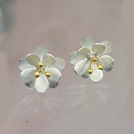 Double Satin Daisy Silver Earrings