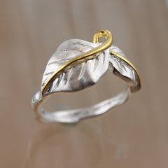Leaf Silver and Gold Ring