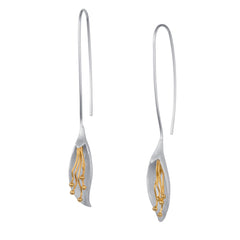 Long Calla Lily Flower Silver & Gold Earrings