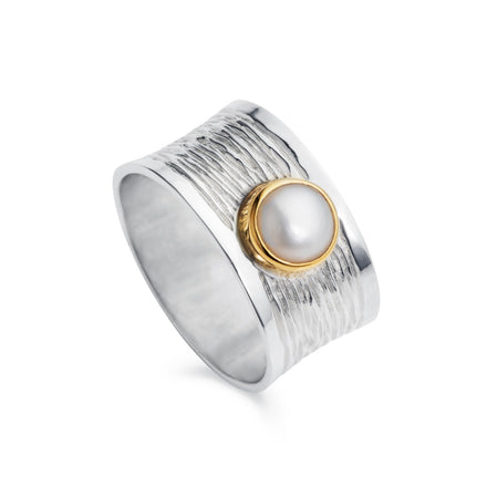 Wide Pearl and Silver Ring with Gold Plated Bezel