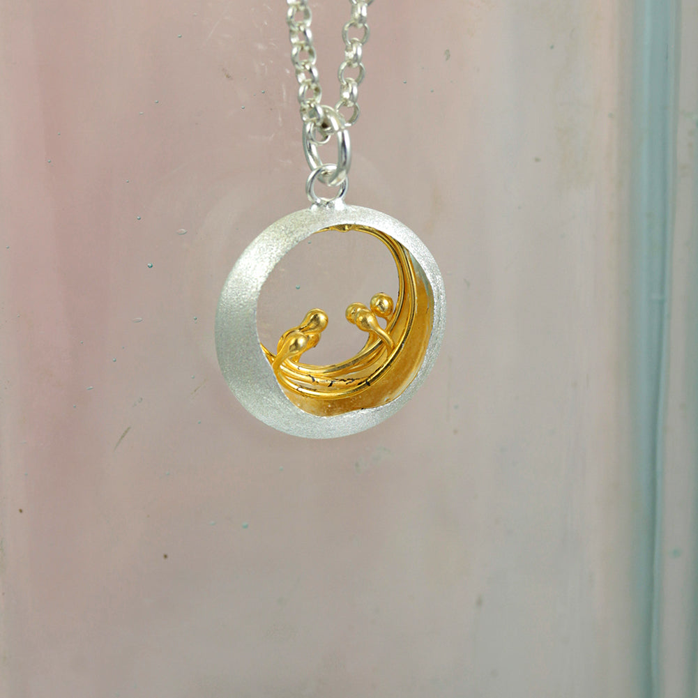Round Silver & Gold Pendant