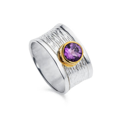 Wide Amethyst Silver Ring with Gold Plated Bezel