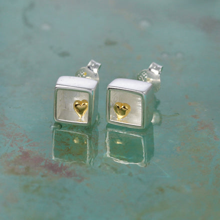 Heart of Gold Silver Stud Earrings