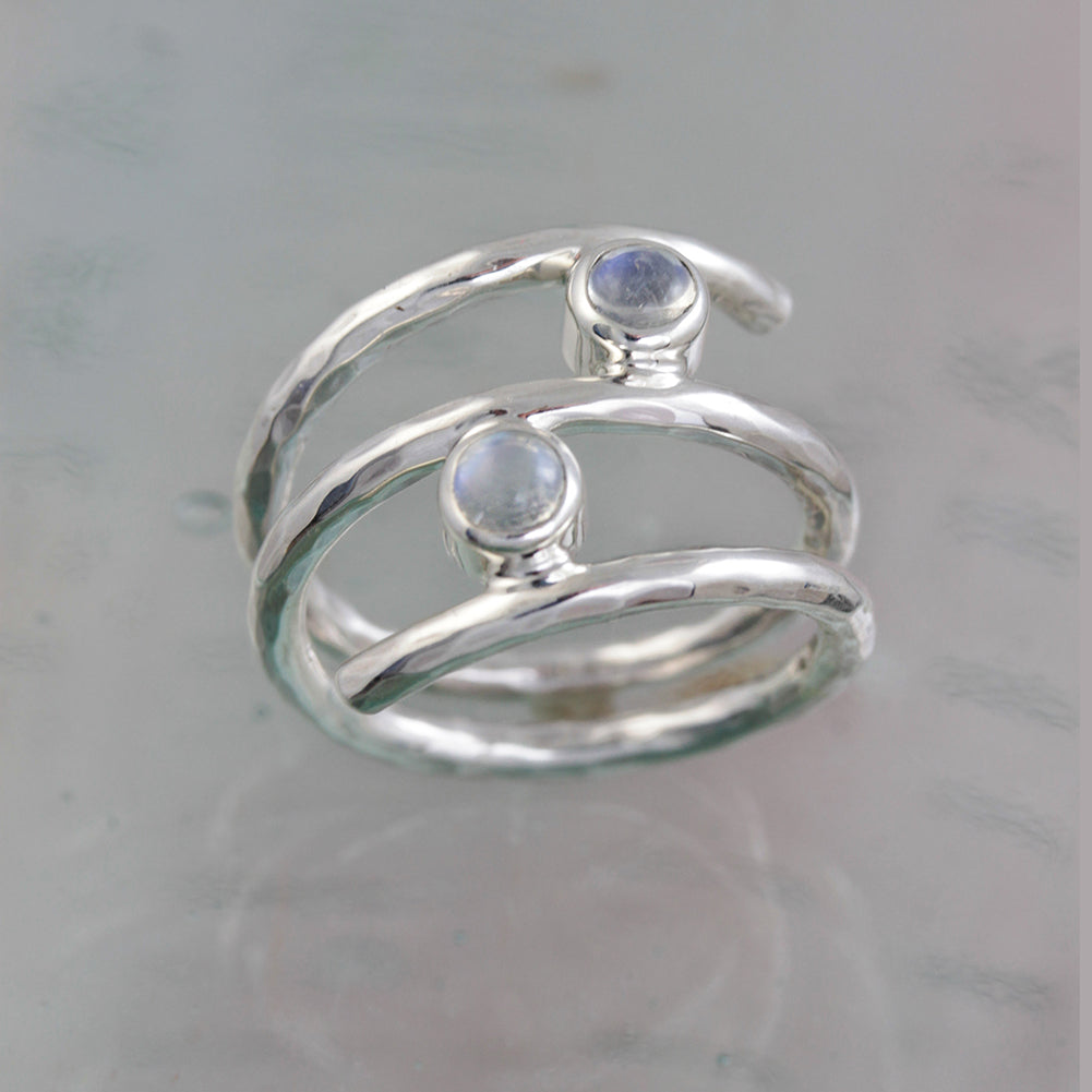 Wrap-Around Moonstone Silver Ring