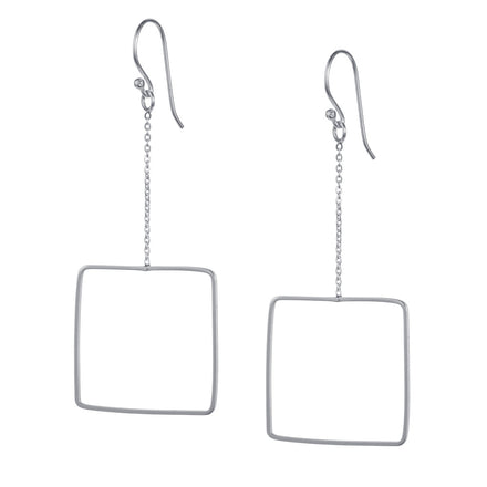 Large Square Chain Silver Hook Earrings
