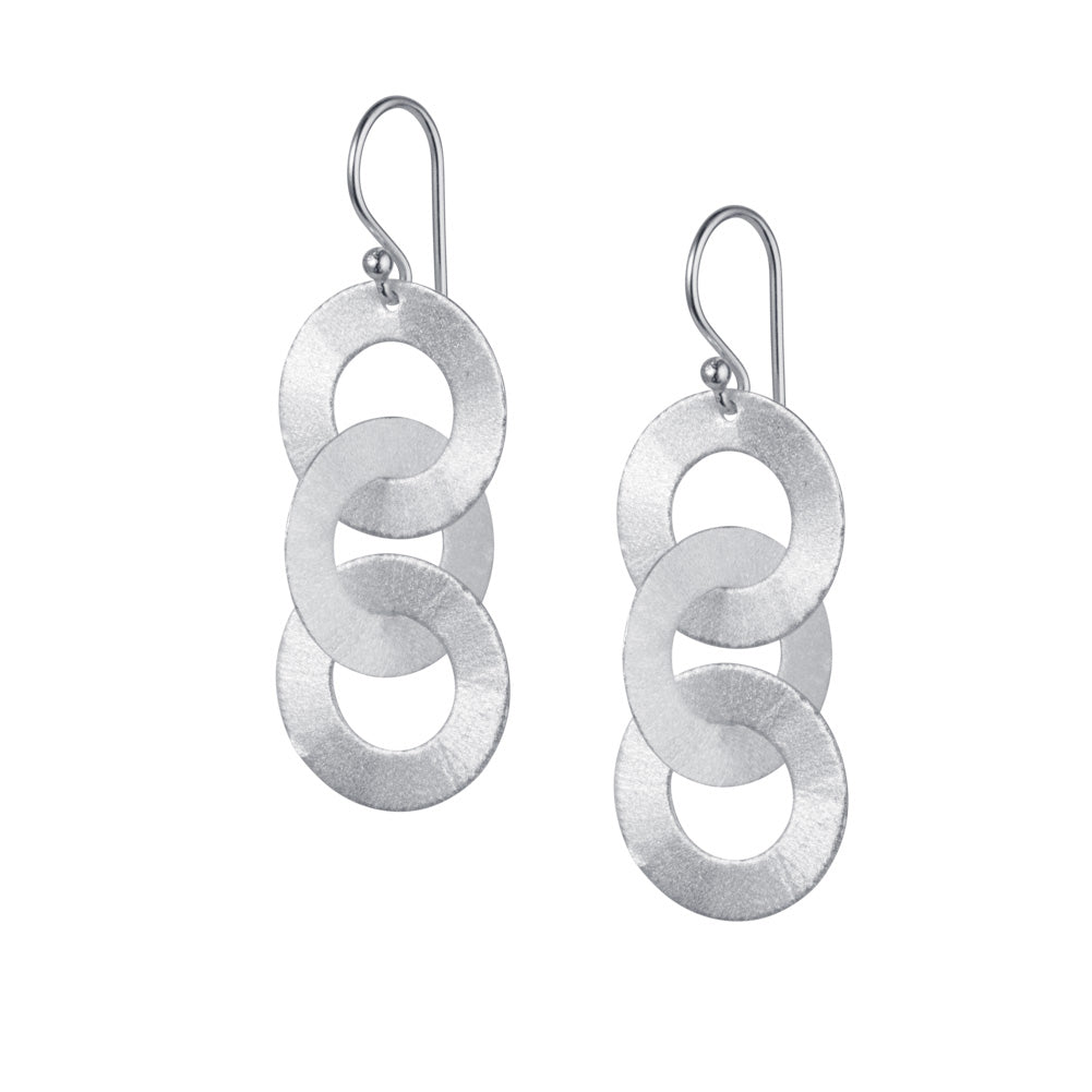 Three Hoop Silver Earrings