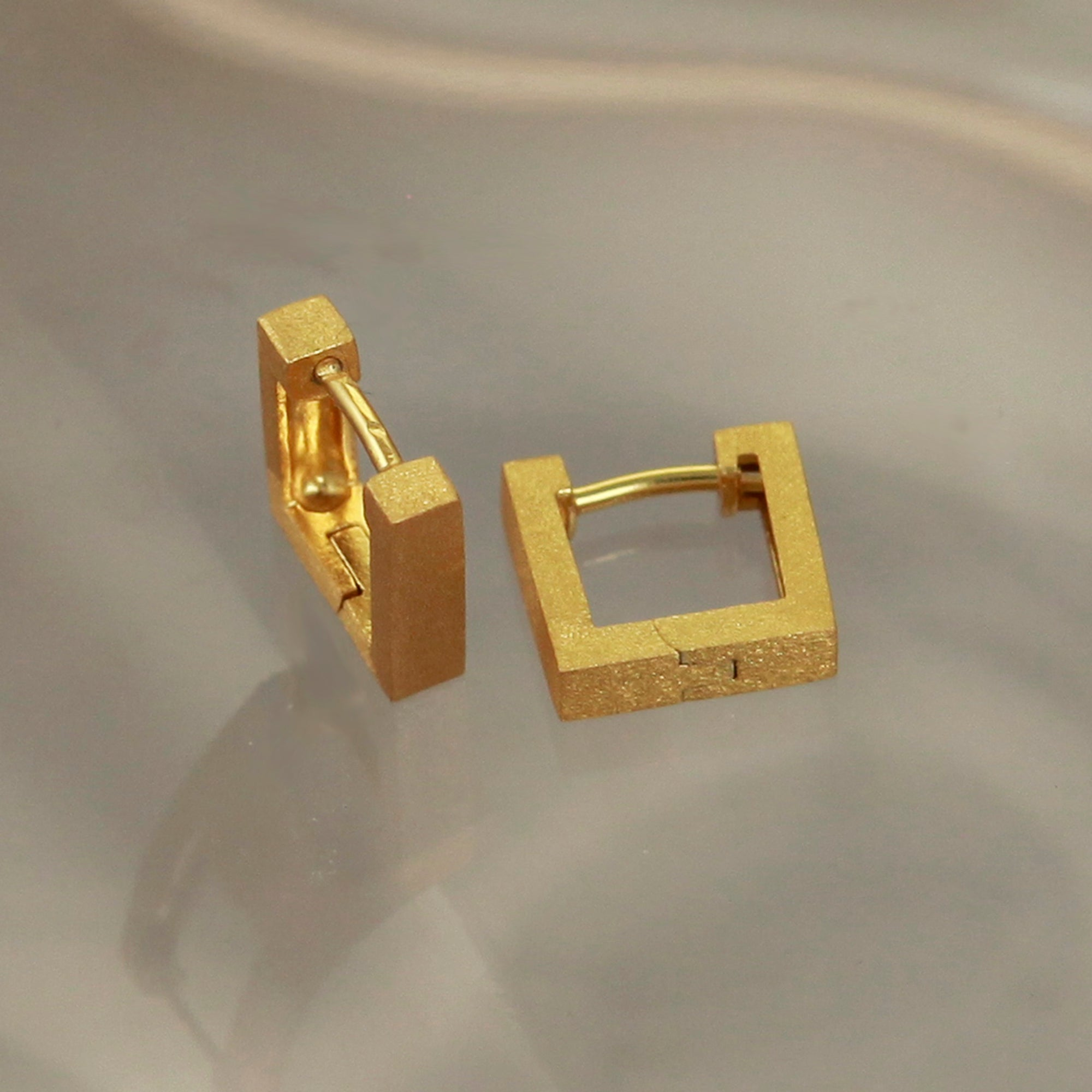 Huggie Gold Square Hoop Earrings