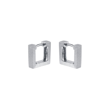 Huggie Silver Square Hoop Earrings