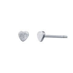 Tiny Heart Silver Stud Earrings