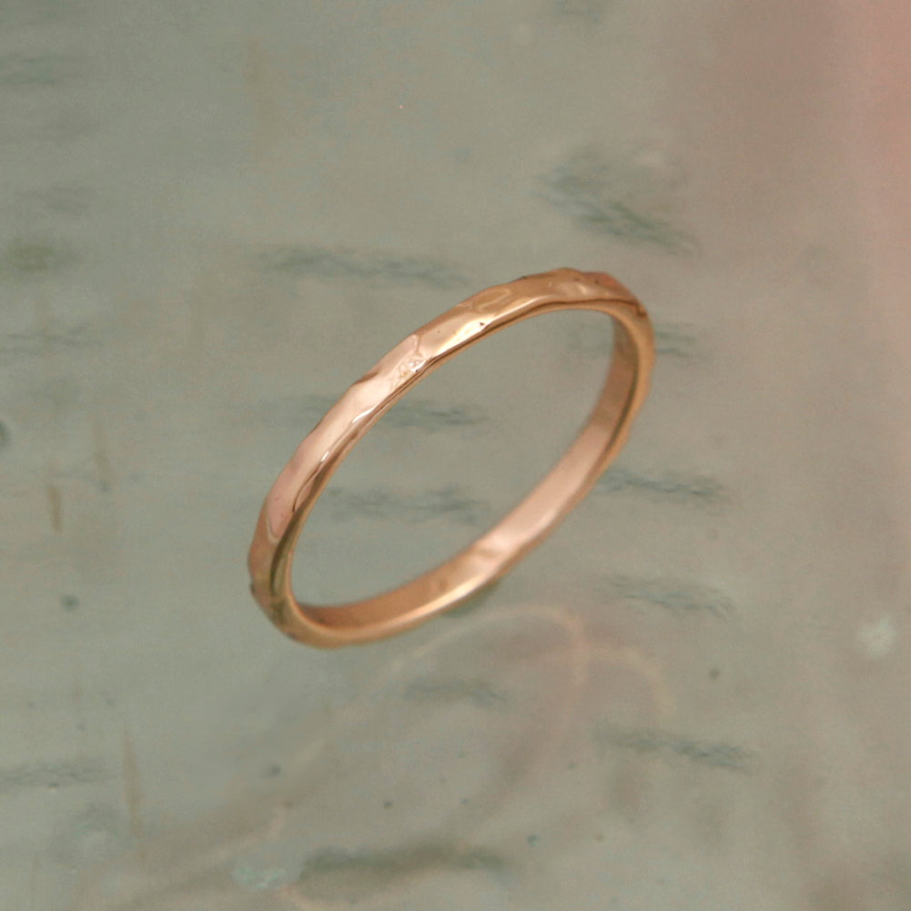 Rose Gold Fine Hammered Band Ring