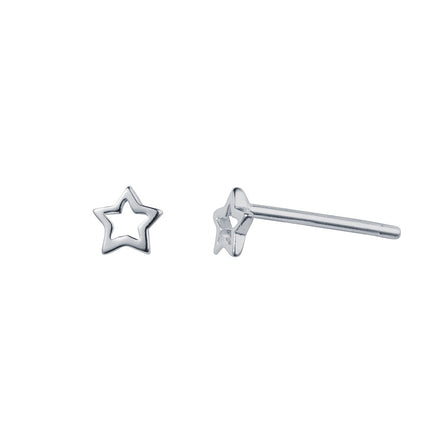 Open Star Silver Stud Earrings