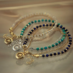 Gold Love's Compass Friendship Bracelet with Turquoise
