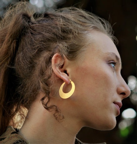 Crescent Hoop Gold Earrings