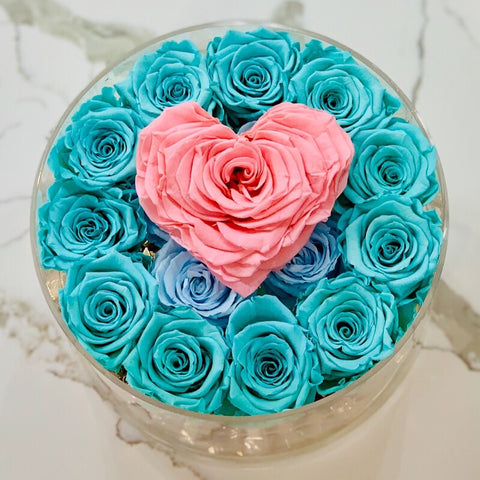 Blue preserved forever roses that last for years