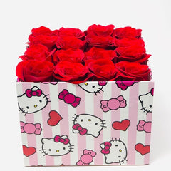 hello kitty red roses arrangement with preserved roses that last for years