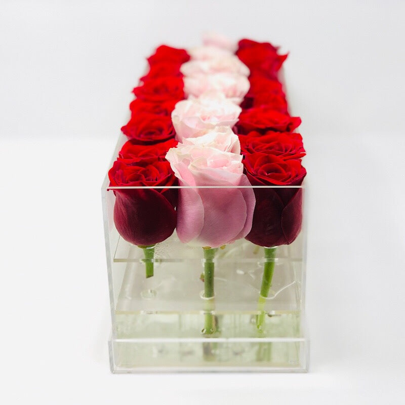 Modern rose box containing two dozen preserved long lasting roses in red roses and ivory roses