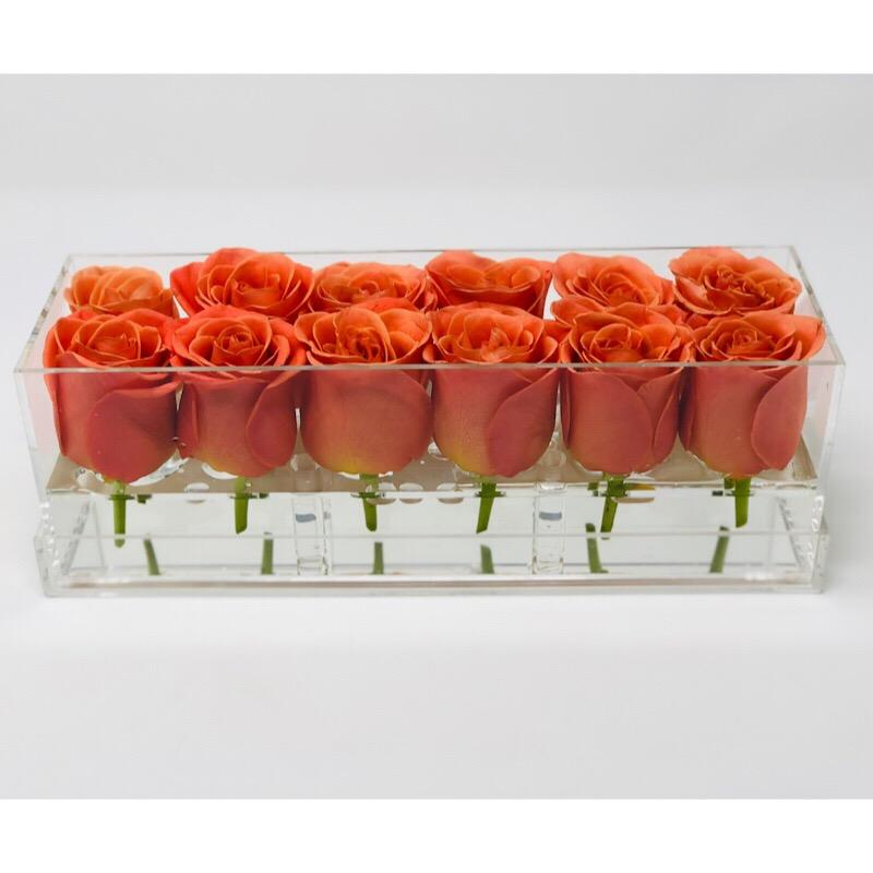 Clear Modern Rose Box with Forever Roses Long lasting roses that last for years with orange roses