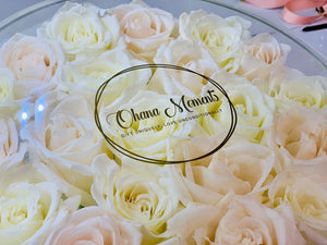 Modern Rose Box with Preserved long last lasting roses that last for years with ivory roses and white Roses