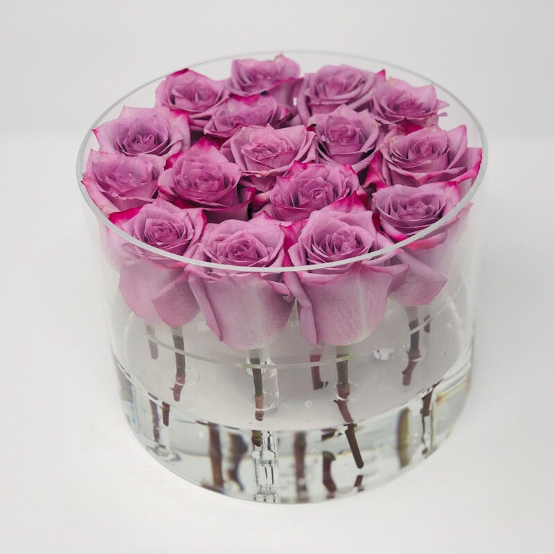 Modern Rose Box with Preserved long last lasting roses that last for years with Lavender Roses