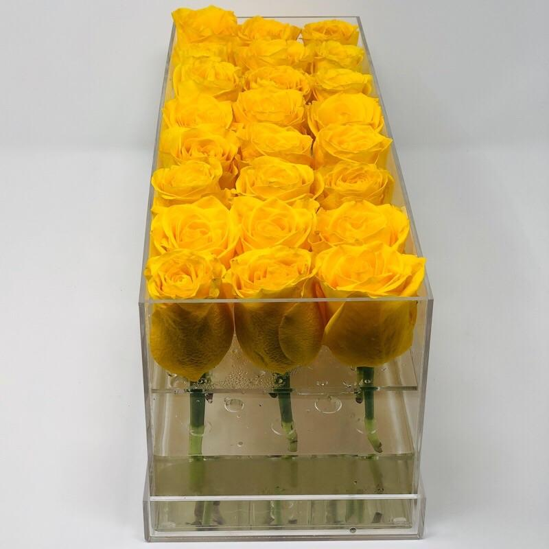 Modern rose box containing two dozen preserved long lasting roses of yellow roses