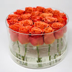 Modern Rose Box with preserved roses that last for years with orange roses