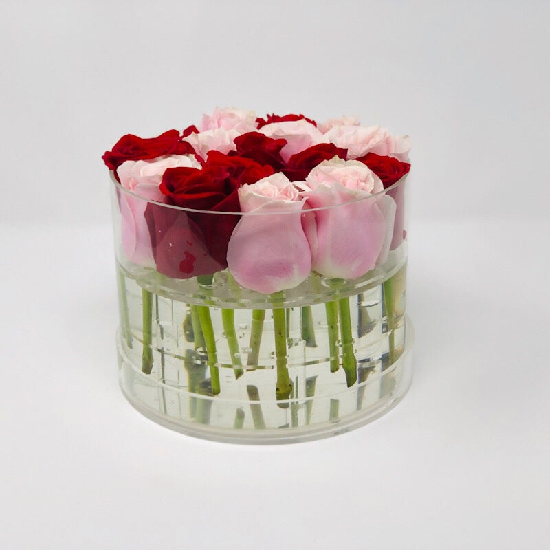 Modern Rose Box with Preserved long last lasting roses that last for years with red roses and pink Roses