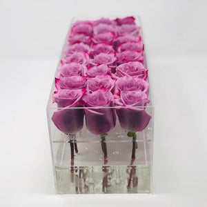 Modern rose box containing two dozen preserved long lasting roses in lavender roses