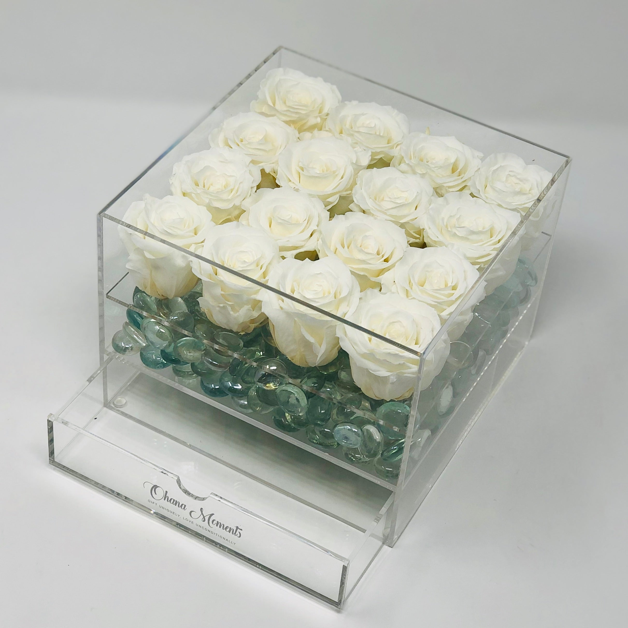 Forever Roses that last for years not days in all white roses. Jewelry box