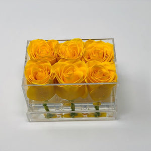 Clear Modern Rose Box with Forever Roses Long lasting roses that last for years yellow roses
