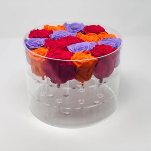 Modern Rose Box with Preserved long last lasting roses that last for years with hot pink roses, lavender roses and orange roses
