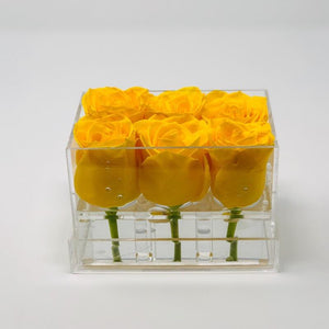 Clear Modern Rose Box with Forever Roses Long lasting roses that last for years with yellow roses