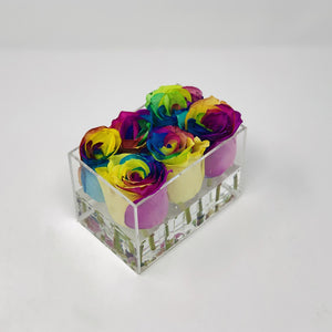Clear Modern Rose Box with Forever Roses Long lasting roses that last for years with rainbow roses