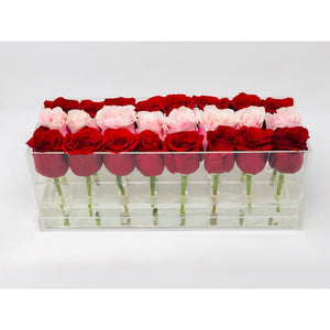 Modern rose box containing two dozen preserved long lasting roses in red roses and pink roses