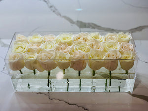 Modern rose box containing two dozen preserved long lasting roses in ivory roses