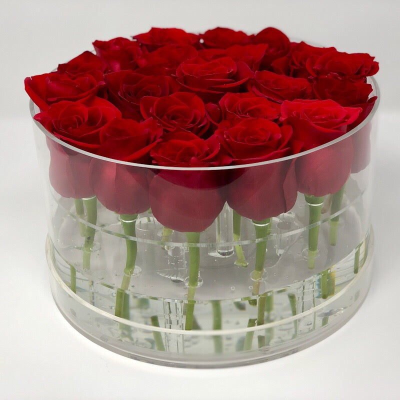 Round Clear Red Rose Box with preserved roses that last for years