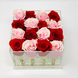 Modern Rose Box with preserved roses that last for years with an ombre mix of red roses and pink roses