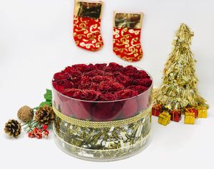 Christmas Holiday Modern Rose Box with Preserved Red Roses that last for years, long lasting roses