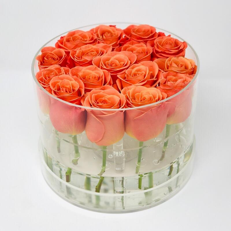 Modern Rose Box with Preserved long last lasting roses that last for years in orange Roses