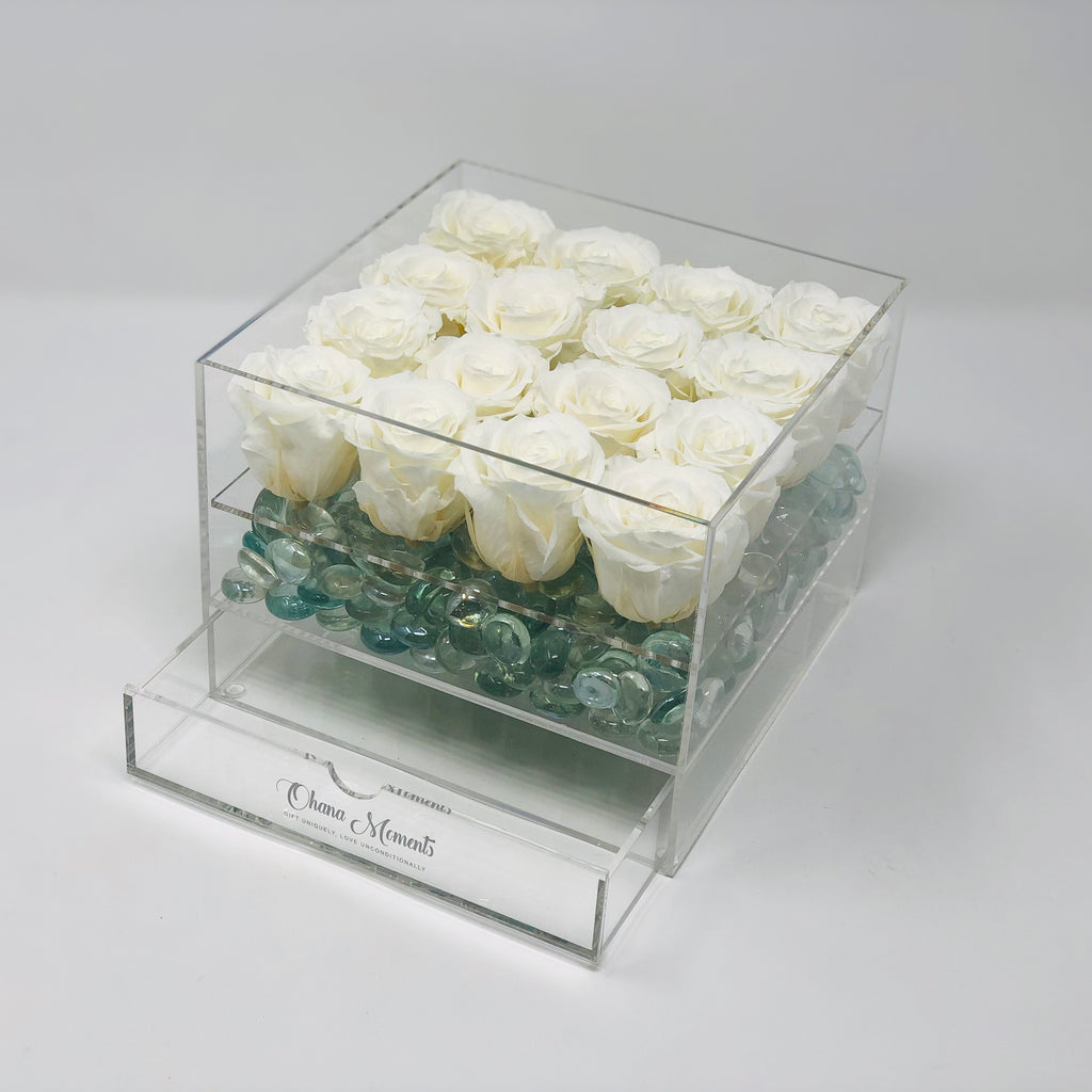 Rosebox with natural white forever roses that last for years not days. Sympathy flowers