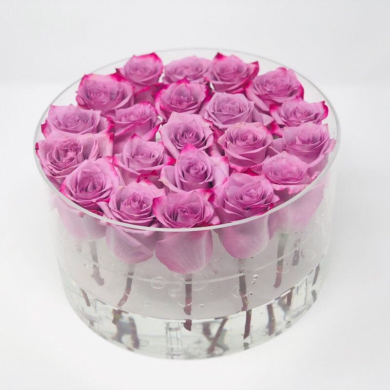Modern Rose Box with preserved roses that last for years with lavender roses