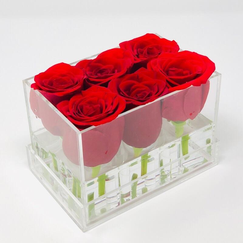 Clear Modern Rose Box with Forever Roses Long lasting roses that last for years in red roses