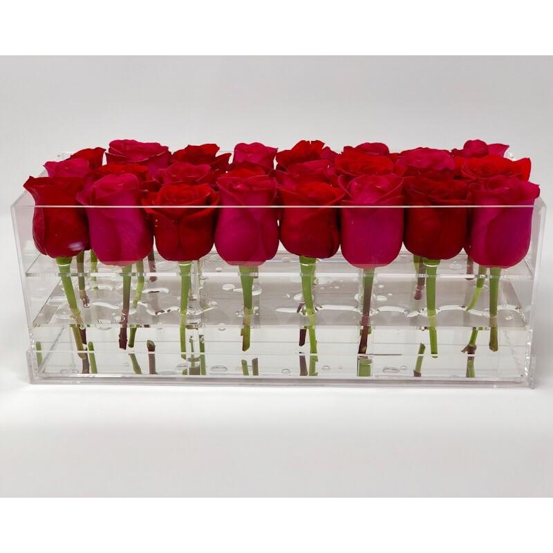 Modern rose box containing two dozen preserved long lasting roses in red roses