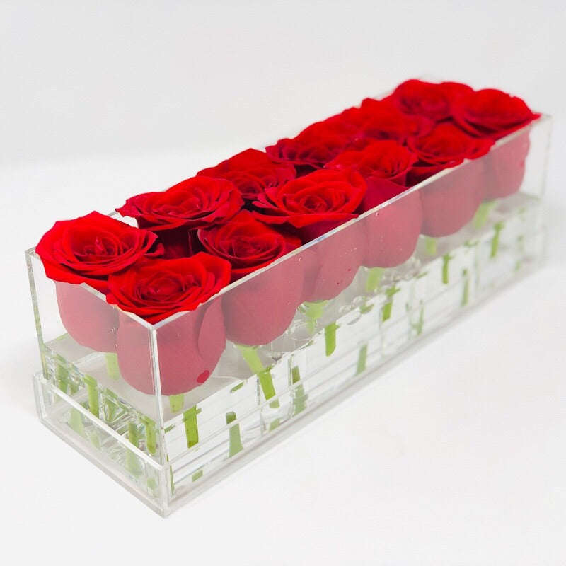 Clear Modern Rose Box with Forever Roses Long lasting roses that last for years with red roses for Valentine's Day