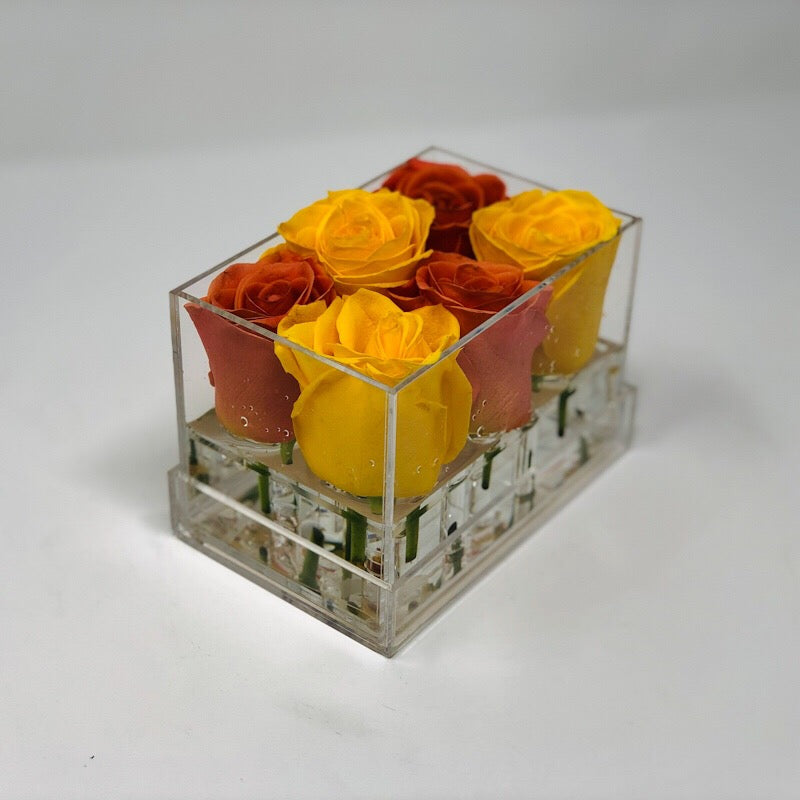 Clear Modern Rose Box with Forever Roses Long lasting roses that last for years with orange roses and yellow roses