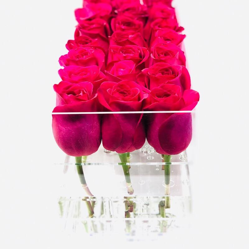 Modern rose box containing two dozen preserved long lasting roses in hot pink roses