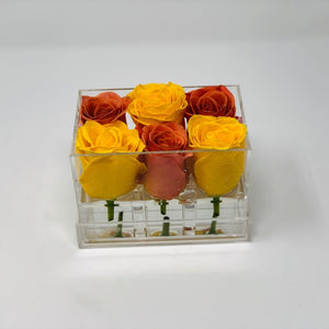 Clear Modern Rose Box with Forever Roses Long lasting roses that last for years in orange roses and yellow roses
