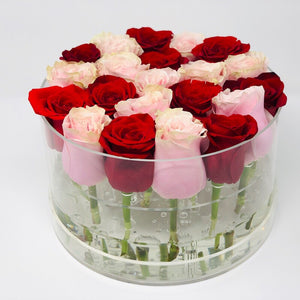 Modern Rose Box with preserved roses that last for years with red roses and pink roses