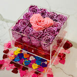 Modern rose box and jewelry box with preserved long lasting roses