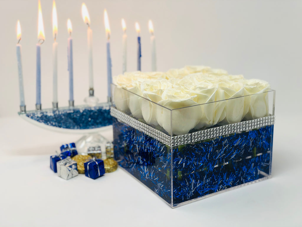 Hanukkah Holiday Modern Rose Box with Preserved White Roses that last for years, long lasting roses