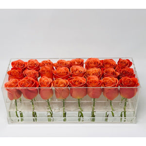 Modern rose box containing two dozen preserved long lasting roses in orange roses